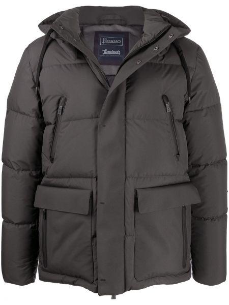 Z rękawami czarny prosto długi płaszcz z kieszeniami Herno