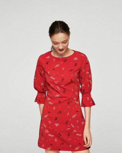 Красное платье с длинными рукавами Mango