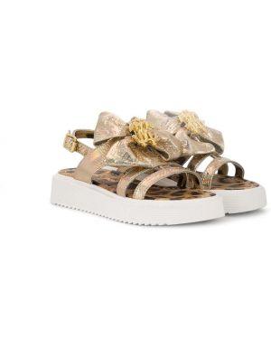 С ремешком кожаные сандалии золотые Roberto Cavalli Junior