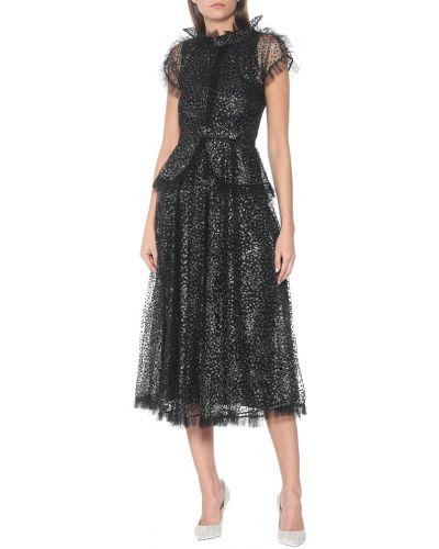 Черное платье макси из фатина Rodarte
