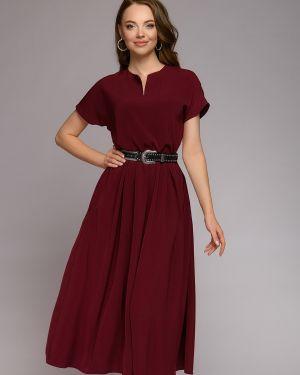 Платье с поясом с V-образным вырезом со складками 1001 Dress