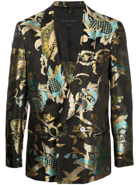 Черный пиджак на пуговицах с манжетами металлический Christian Pellizzari