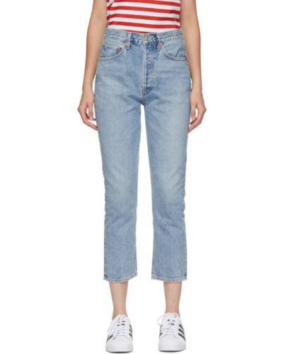 Prosto srebro jeansy na wysokości z kieszeniami Agolde