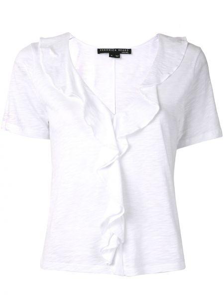 Хлопковая белая рубашка с коротким рукавом с V-образным вырезом с короткими рукавами Veronica Beard