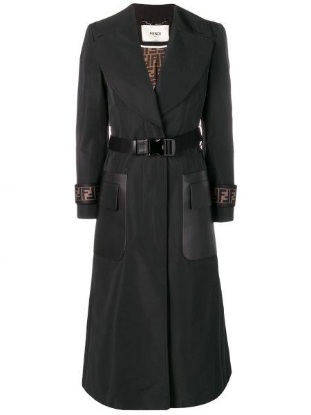Черное кожаное пальто с капюшоном Fendi