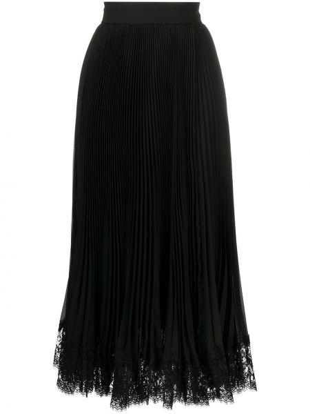 Черная с завышенной талией плиссированная юбка миди Dolce & Gabbana