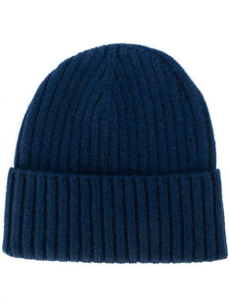 Кашемировая синяя шапка в рубчик Dell'oglio