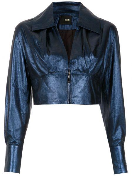 Синяя кожаная короткая куртка с воротником Andrea Bogosian