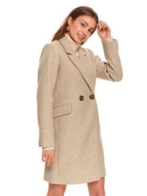 Beżowy płaszcz zapinane na guziki z długimi rękawami Top Secret
