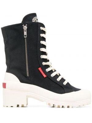 Ботинки на каблуке на шнуровке на платформе Superga