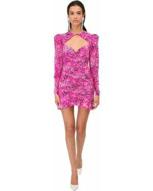 Шелковое розовое платье мини с декольте с воротником Alessandra Rich