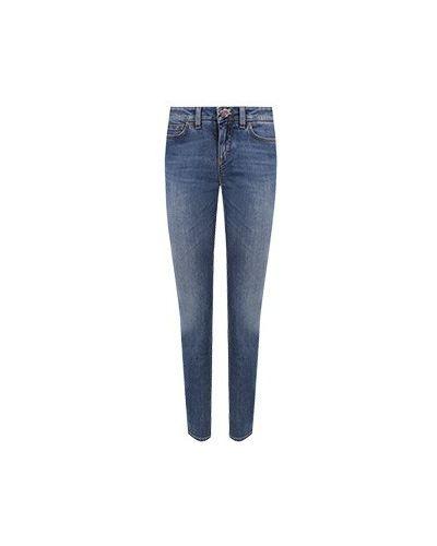 Хлопковые синие зауженные джинсы-скинни Dolce&gabbana