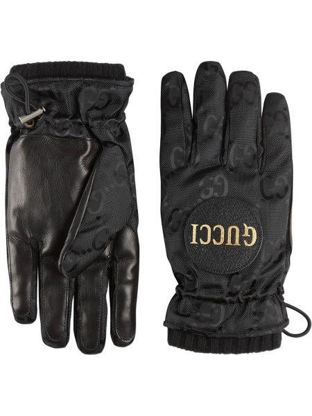 Czarne rękawiczki skorzane z siateczką Gucci