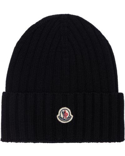 Czarna czapka wełniana Moncler