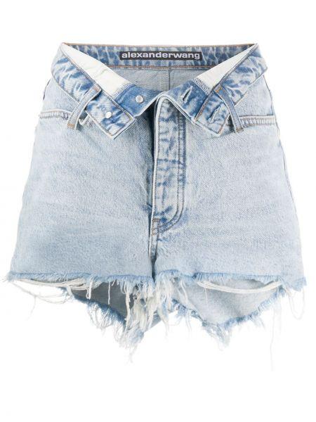 Bawełna niebieski bawełna dżinsowe szorty z kieszeniami Alexander Wang