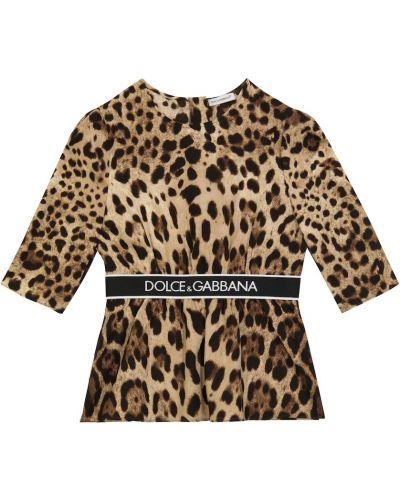 Шелковый топ - коричневый Dolce & Gabbana Kids