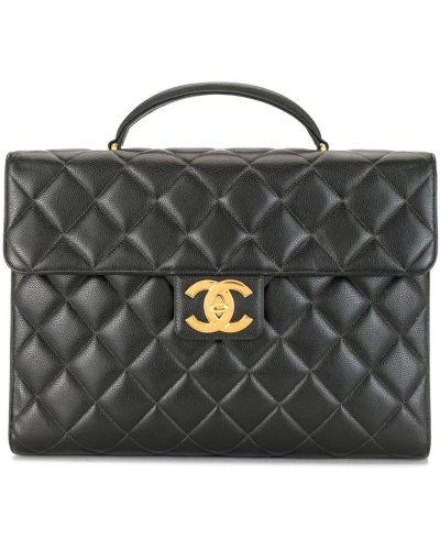 Skórzany czarny teczka z kieszeniami z diamentem Chanel Pre-owned