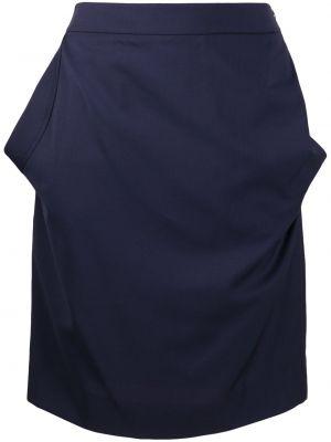 Шерстяная синяя юбка с драпировкой Vivienne Westwood Red Label