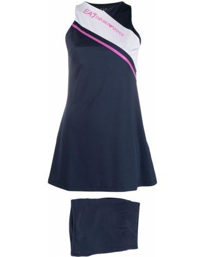 Платье мини с вырезом - синее Ea7 Emporio Armani