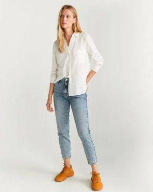 Рубашка с длинным рукавом белая льняная Mango