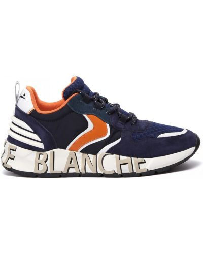 Комбинированные кожаные кроссовки на шнуровке Voile Blanche