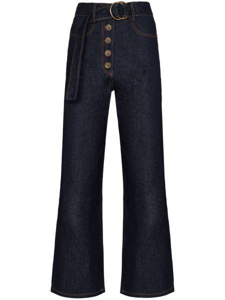 Синие широкие джинсы с высокой посадкой свободного кроя Rejina Pyo