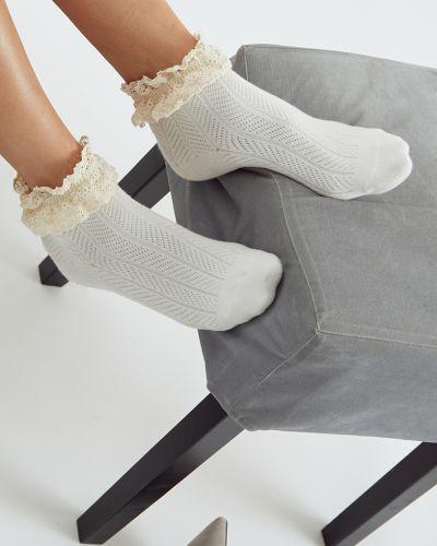 Трикотажные молочные ажурные спортивные носки Ksox