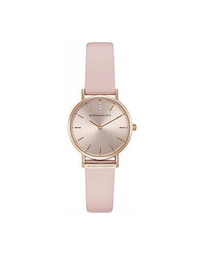 Часы на кожаном ремешке розовый с круглым циферблатом Bcbgmaxazria