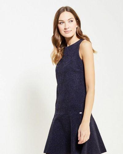 Вечернее платье осеннее синее Gluen