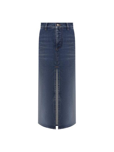 Джинсовая юбка с завышенной талией синяя Balenciaga