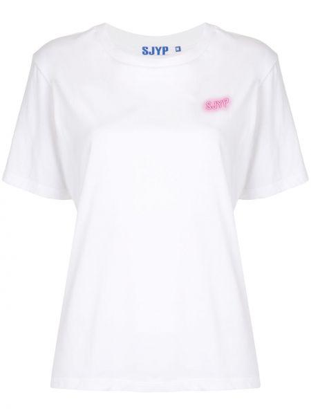 Хлопковая белая прямая футболка с круглым вырезом Sjyp
