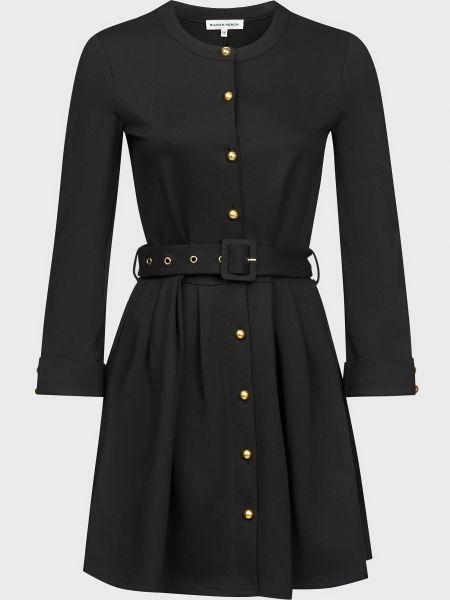Черное платье с поясом на пуговицах Silvian Heach