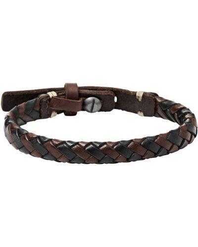 Плетеный браслет кожаный коричневый Fossil