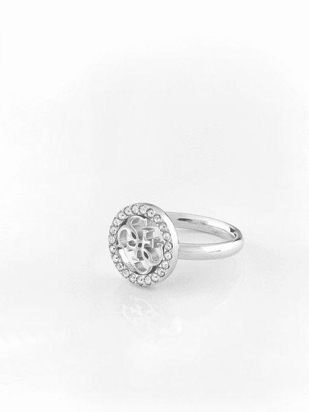 Szary pierścionek srebrny Guess