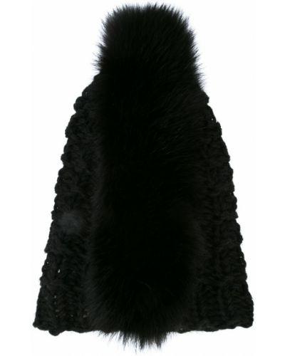Вязаная шапка бини черная Gigi Burris Millinery