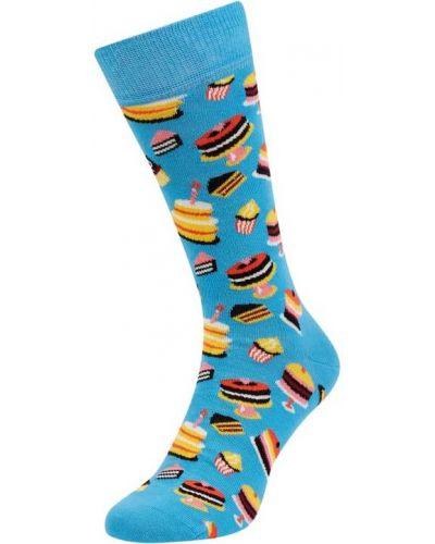 Prążkowane niebieskie skarpety bawełniane Happy Socks