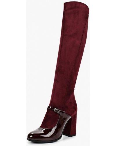 Ботфорты на каблуке красные кожаные Teetspace