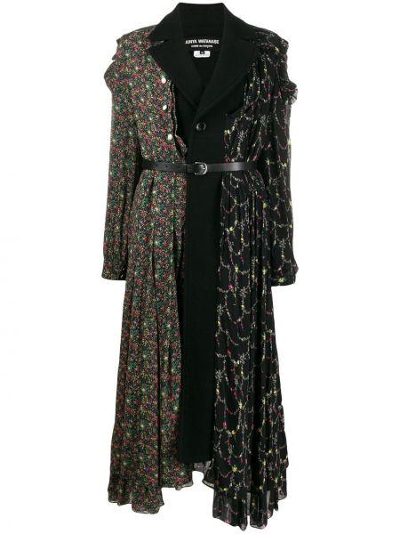 Черное шерстяное пальто классическое с поясом на пуговицах Junya Watanabe