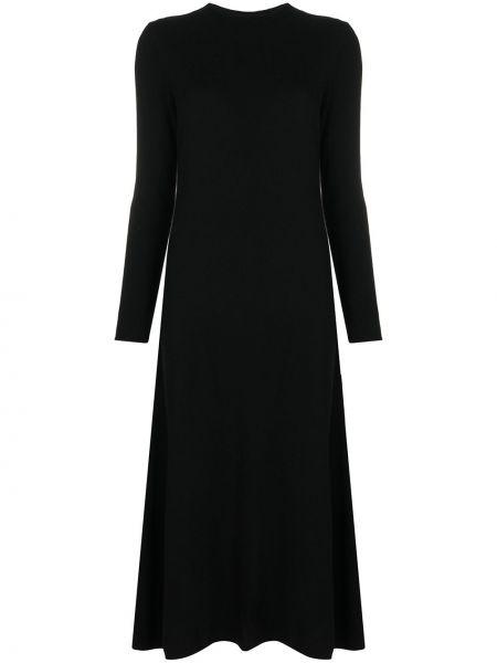 Кашемировое черное платье с рукавами с вырезом круглое Philo-sofie
