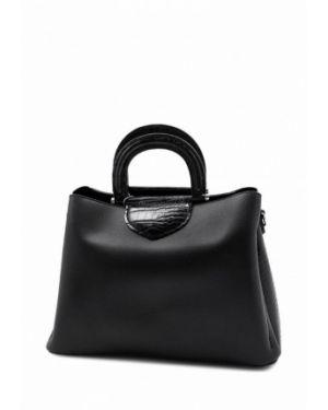 Кожаная сумка черная с ручками David Jones