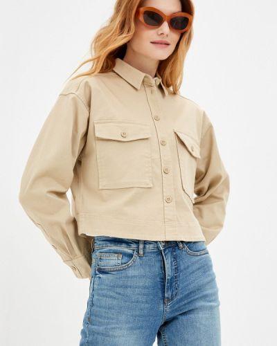 Бежевая рубашка с длинными рукавами Q/s Designed By