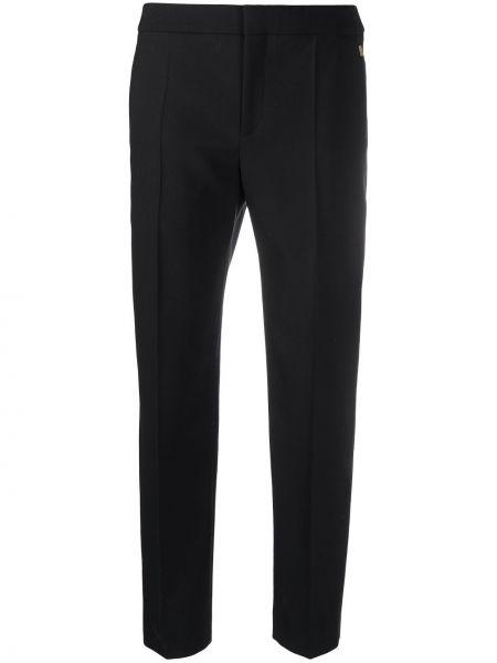 Шерстяные со стрелками черные укороченные брюки Chloé