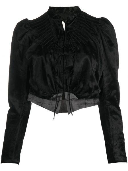 С рукавами бархатная черная длинная куртка с V-образным вырезом Renli Su