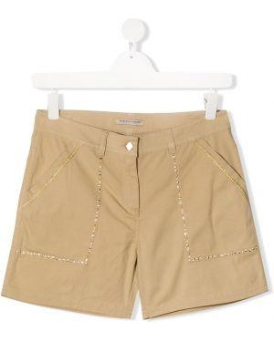 Хлопковые желтые короткие шорты Ermanno Scervino Junior