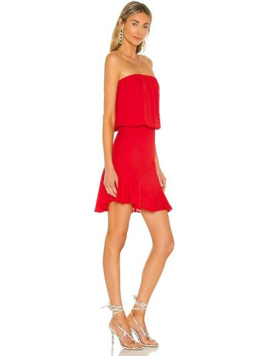 Czerwona sukienka mini z szyfonu Krisa