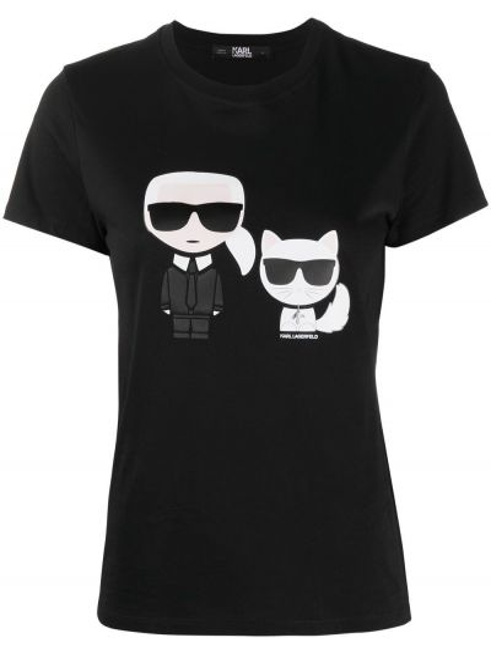 Хлопковая с рукавами черная футболка Karl Lagerfeld