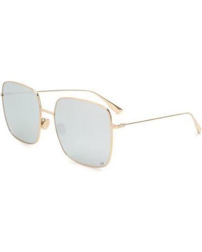 Тонкие солнцезащитные очки золотые металлические Dior
