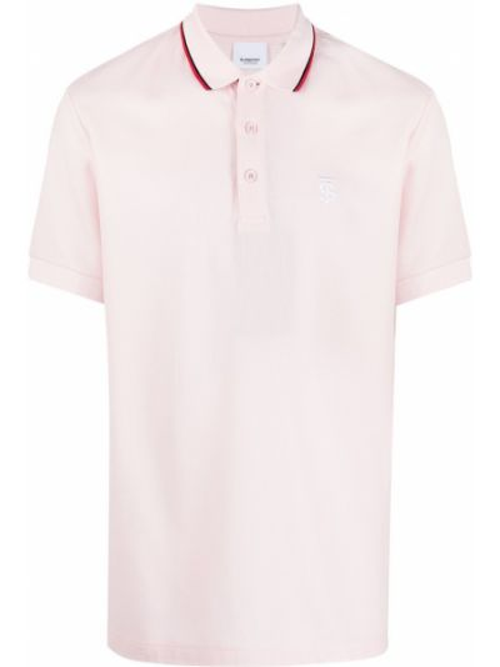 Różowy bawełna koszula krótkie rękawy z haftem Burberry
