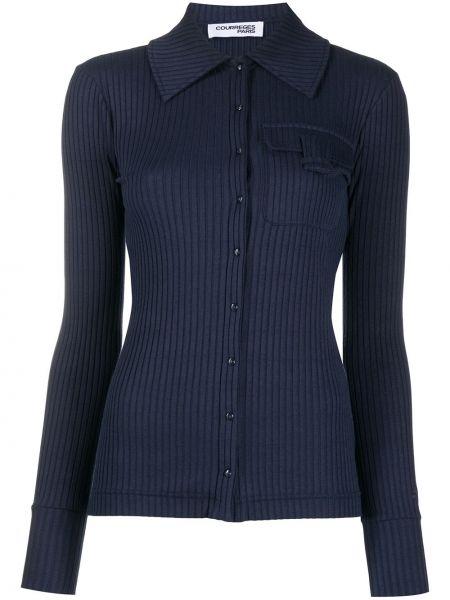 Синяя рубашка с воротником с карманами с заплатками Courrèges
