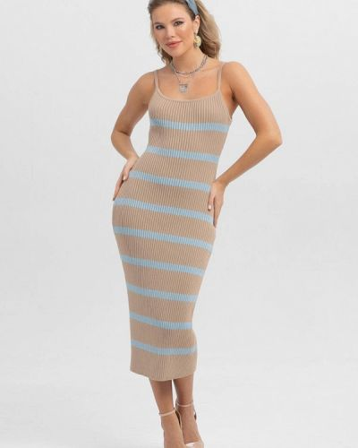Прямое бежевое платье А-силуэта Lmp
